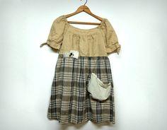 Boho Shabby Chic Dress Peasant Style Plaid Ecru by PrimitiveFringe