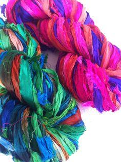 Sari silk ribbon, 2 x 50 grams, craft ribbon, sari yarn, Eco Friendly Yarn, jewelry making and arts and crafts, knitting yarn by Yarnyarnyarns on Etsy https://www.etsy.com/listing/204607818/sari-silk-ribbon-2-x-50-grams-craft