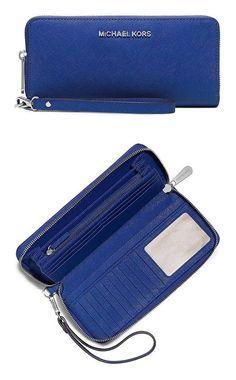 c56e67454879 $120 - MICHAEL Michael Kors Women's Jet Set Continental Wallet Electric  Blue #michaelmichaelkors