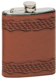 Leather Wrapped Flask -Scalloped Basket Tooling  #Vogt