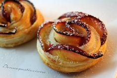 Rose di mele, pasta sfoglia e crema