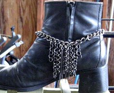 "Boot Bracelet/Anklet - Gunmetal chain gives you that ""Hot Rocker"" style and swagger. $25.99, via Etsy."
