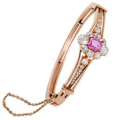 Austrian Victorian Pink Sapphire Diamond and Gold Bangle Bracelet, ca. 1880