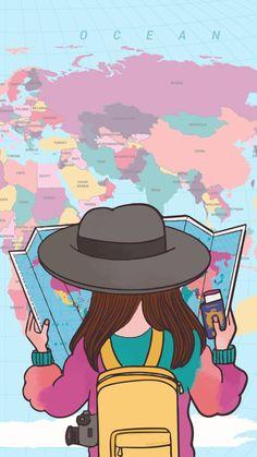 Travel Wallpaper, Pastel Wallpaper, Tumblr Wallpaper, Galaxy Wallpaper, Girl Wallpaper, Cartoon Wallpaper, Screen Wallpaper, Wallpaper Backgrounds, Wallpaper Mundo