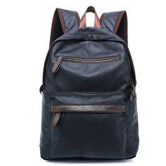 3984b3f3b41 2016 Designer Men's Leather Backpack Fashion Vintage Travel Men Bag for  Teenagers Black/Brown/Blue