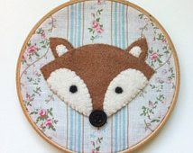 Floral kitsch Felt fox embroidery hoop wall art - hand sewn onto upcycled fabric MADE TO ORDER