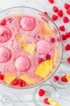 This party punch is so pretty and refreshing. It is perfect for baby showers, church potlucks, Valentines day parties and family get-togethers.