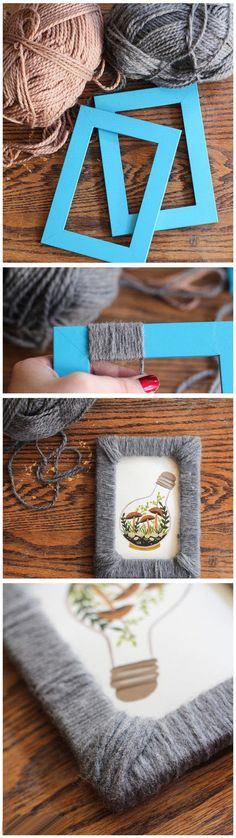 DIY Yarn Photo Frame diy crafts yarn craft idea do it yourself diy projects crafty photo frame