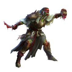 Female Orc Shaman or Oracle - Pathfinder PFRPG DND D&D d20 fantasy