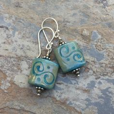 Rustic Blue Glass Earrings, Boho Chic Earrings, Square Blue Earrings with Sterling Silver and Pyrite, 1.5 inches long