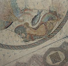 Mosaic of the Nereids, fragment of a mosaic depicting a Nereid riding a hybrid sea monster (Ketos), it paved a room of a Roman house perhaps of the private baths area (thermae), 2nd century AD, Museo Histórico Municipal de Écija