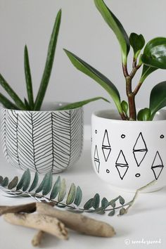 If you have glossy ceramic pots you can use a Sharpie ceramic pen to add an inte. If you have glossy ceramic pots you can use a Sharpie ceramic pen to add an interesting design or your own wording.