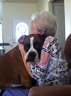 On sundays we visit grandma This is one of the many reasons I Love Boxers, Always ready to give amazing hugs!!!!!!!!!!!
