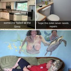 These home redecorations are so bad you'd rather just burn them to the ground 🔥 Really Funny Memes, Stupid Funny Memes, Funny Laugh, Funny Relatable Memes, Funny Posts, Hilarious, Funny Stuff, Funny Quotes, Humor