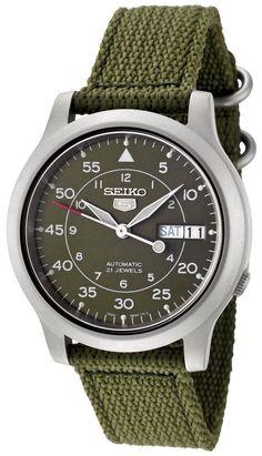 Seiko 5 SNK805K2 Men's Green Fabric Band Military Dial Automatic Watch #Seiko #Military