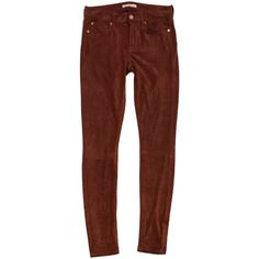 Pre-owned 7 For All Mankind Brick Orange Suede Skinny Jeans ($75) ❤ liked on Polyvore featuring jeans, denim skinny jeans, skinny leg jeans, orange jeans, brown jeans and brown skinny jeans