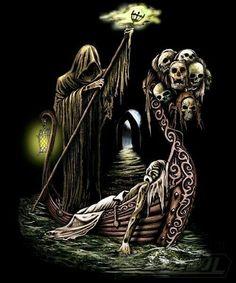 Charon The Ferryman Death Reaper, Grim Reaper Art, Arte Horror, Horror Art, Dark Fantasy Art, Dark Art, Greek Mythology Tattoos, Monster Pictures, Lantern Tattoo