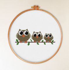 3 Gray Owls cross stitch pattern funny cross stitch by ThuHaDesign