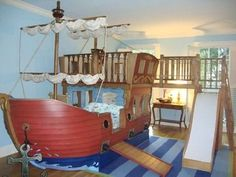 Imagine the adventures your kids could have on this pirate bed/playhouse.  Yo ho, yo ho, a pirate's life for me!