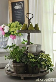 Tiered vignette/coffee center