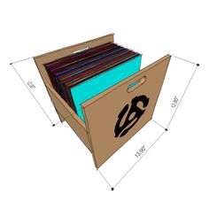 Atlantic record crate - drawing with dimensions