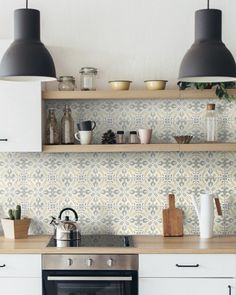 Valletta Kitchen in Pattern 145 in Green and Gold