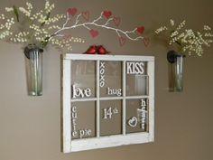 Valentine Word Window- 22 Amazing DIY Valentine's Day Decorations