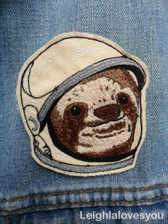 Space Sloth Embroidered Patch/Brooch (15.00 GBP) by LeighLaLovesYou