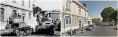 Carri Italiani distrutti dopo i combattimenti,Roma Settembre 1943