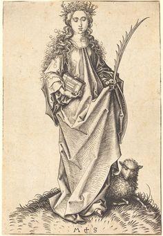 Saint Agnes by Martin Schongauer, ca. 1475