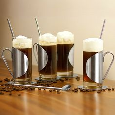 This Irish Coffee Glasses Complete Gift Set is ideal for enjoying a classic whisky based beverage. Each heat resistant glass features a stainless steel surround and handle. Set includes 4 x 28cl Irish coffee glasses, 4 x spoon straw stirrers and 4 x stainless steel coasters.