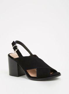 Genuine Suede Crisscross Block Heels