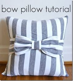LOVE this bow pillow with a super easy to follow tutorial by Ucreate! I'm thinking of making it with the leftover fabric from the ottoman Owen & I made!