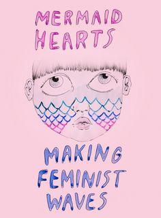 Corações de sereias fazendo ondas feministas AMBIVALENTLY YOURS