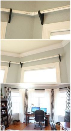 curtain rodes using PVC pipes decor diy curtains Pvc Projects, Home Projects, Diy Curtains, Diy Curtain Rods, Bay Window Curtain Rod, Curtains For Bay Windows, Bay Window Curtains Living Room, Corner Curtain Rod, Bay Window Decor