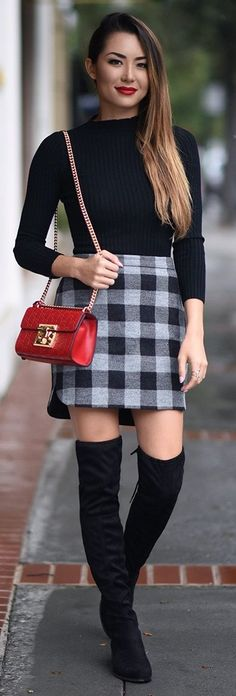 Cherry smile & clutch, greyscale gingham skirt, ribbed sweater, OTK boots, caramel waistlength hair