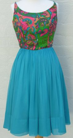 Vintage 1960s dress/ cocktail dress/ party dress/ turquoise/ paisley/ chiffon/designer/ S Howard Hirsh California/ NWOT/ small