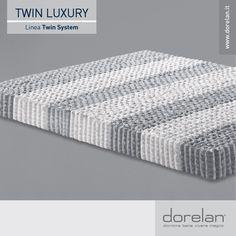Nel cuore del Twin Luxury sono presenti 7 Zone Differenziate che, grazie ad un maggiore o minore numero di molle, forniscono al corpo un supporto più deciso o più accogliente dove è necessario, garantendo un'ergonomia davvero perfetta.  Il molleggio è racchiuso nell'esclusivo Box System: un morbido strato in Myform Extension, che porta all'eccellenza l'accoglienza e l'elasticità di questo esclusivo #materasso.  #materassi #Dorelan #NewCollection #dormirebene