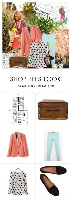 """""""Stop waiting for Prince Charming. Get up and find him. The poor idiot may be stuck in a tree or something."""" by natza ❤ liked on Polyvore featuring Craftsman, Jayson Home, polka dots, flatform shoes, polka dot blouses, skinny pants, blazers and pastels"""
