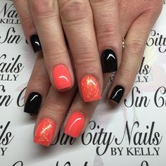 #beachboardwalk #coralreef #blacknails #coralnails #orangenails #glitternails #cutenails #gelnails #gel2 #gelii #geltwo #gelmani #gelmanicure #gelpolish #style #fashion #lasvegas #lasvegasnails #lasvegasnailtech #vegas #vegasnails #702 #702nails #sincity #sincitynails #hotboxsalon