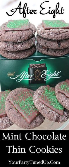 Perfect for the holidays: After-Eight dinner thin mint and dessert all in one! Easy cookie dough, elegant to serve, awesome flavor. Mint Desserts, Great Desserts, Cookie Desserts, Cookie Recipes, After Eight Mints, After Dinner Mints, Chocolate Cake Mix Cookies, Mint Cookies, After Eight Chocolate