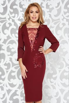 Burgundy occasional pencil dress slightly elastic fabric with inside lining lace and sequins details Burgundy Dress, Product Label, Pencil Dress, Lace Detail, Soft Fabrics, Fashion Dresses, Sequins, Interior