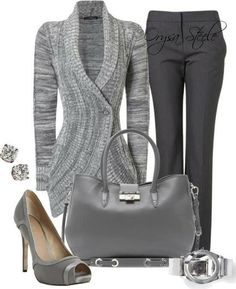Dark grey pants, hand bag, high heel sandals, wrist watch and long sweaters for ladies