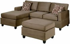 Bobkona Manhattan Reversible Microfiber 3-Piece Sectional Sofa Set, Saddle
