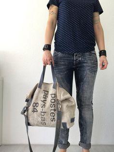 Repurposed Dutch postbag tote bag shoulder bag crossbody bag