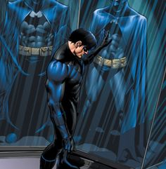 I had little experience with the comic side of things until a friend of mine called Tim, introduced me to Nightwing. Comic Book Characters, Comic Character, Comic Books Art, Comic Art, Book Art, Batman Robin, Im Batman, Nightwing, Batgirl