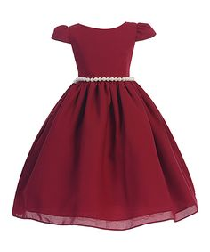Burgundy Pearl Cap Sleeve A-Line Dress - Toddler & Girls