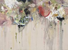 Large Abstract Painting #fallingflowers #beautifuldecay #rawcanvas #chaseyounggallery #sarahmeyersbrent Large Painting, Painting & Drawing, Sarah Meyer, Plant Monster, Strange Flowers, Motif Floral, Pastel Drawing, Mixed Media Canvas, Gallery