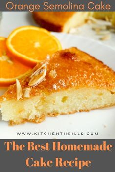 Quick and easy semolina cake with an intense orange flavour and generously soaked in a simple orange sugar syrup. Homemade Cake Recipes, Delicious Cake Recipes, Yummy Cakes, Baking Recipes, Make Ahead Desserts, Easy Desserts, Dessert Recipes, Indian Desserts, Indian Recipes