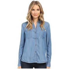RVCA Trader 2 Top Women's Long Sleeve Button Up ($65) ❤ liked on Polyvore featuring tops, collared shirt, button up shirts, blue top, rvca shirts and chambray shirt